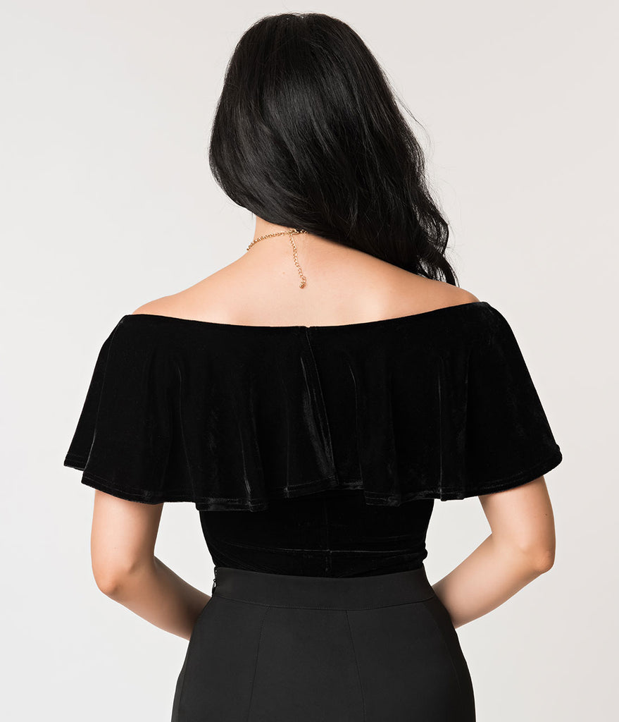 Unique Vintage 1950s Black Velvet Off Shoulder Ruffle Frenchie Knit Top