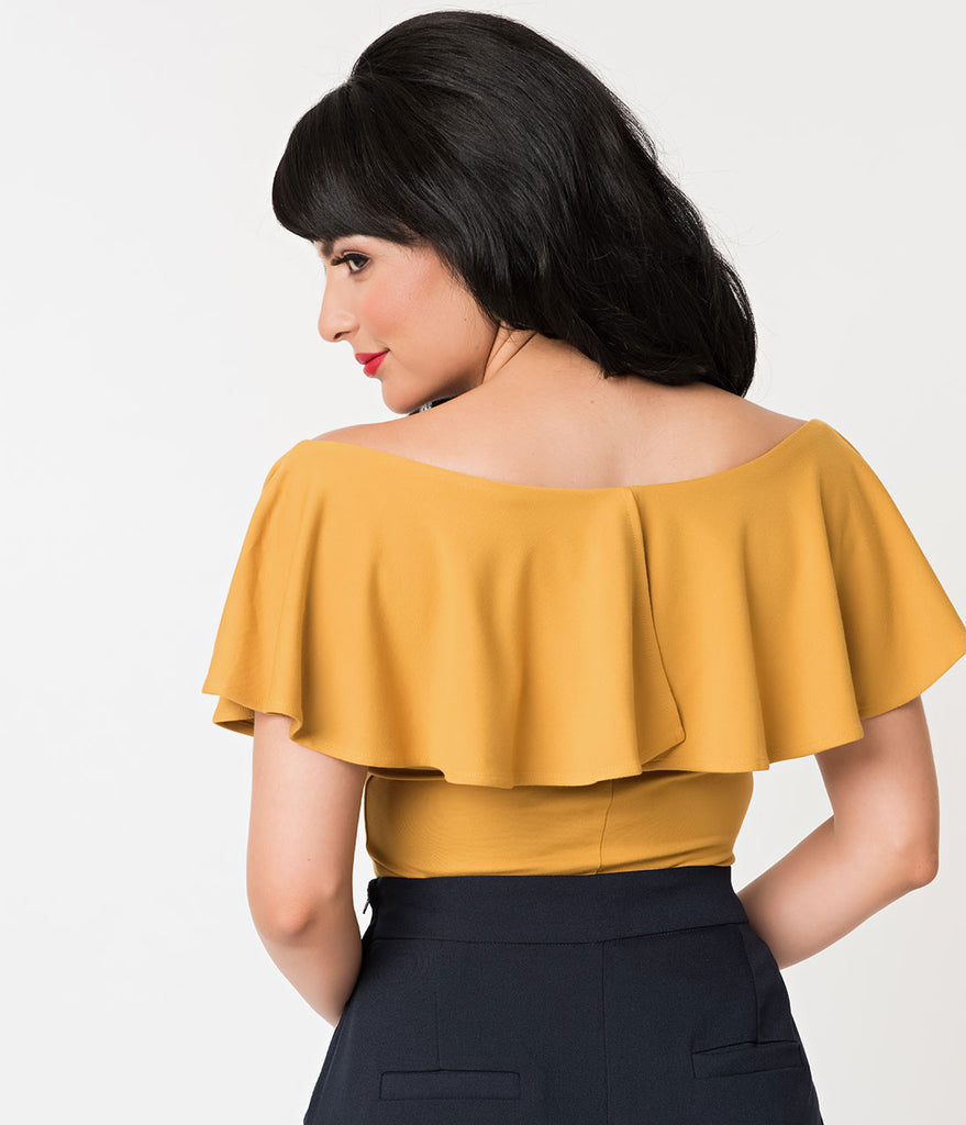 Unique Vintage 1950s Mustard Yellow Off Shoulder Ruffle Frenchie Knit Top