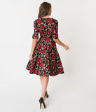 Unique Vintage 1950s Black & Red Roses Print Delores Swing Dress with Sleeves