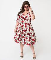 Plus Size V-neck Floral Print Above the Knee Elbow Length Sleeves Natural Waistline Swing-Skirt Cotton Hidden Side Zipper Gathered Vintage Banding Pocketed Pleated Dress With a Bow(s)