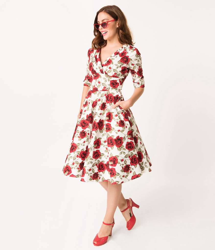 629c1841804 Unique Vintage 1950s White   Red Roses Print Delores Swing Dress with