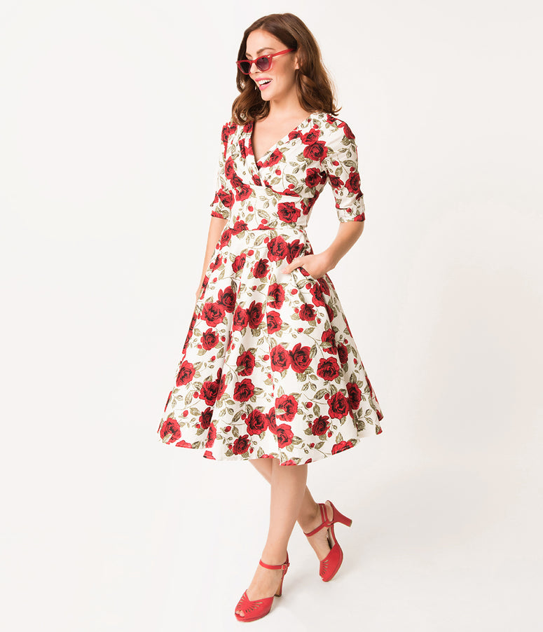 Unique Vintage 1950s White & Red Roses Print Delores Swing Dress with Sleeves