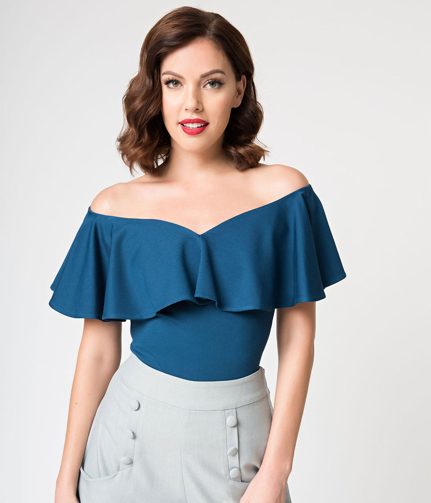 Unique Vintage 1950s Teal Off Shoulder Ruffle Frenchie Knit Top