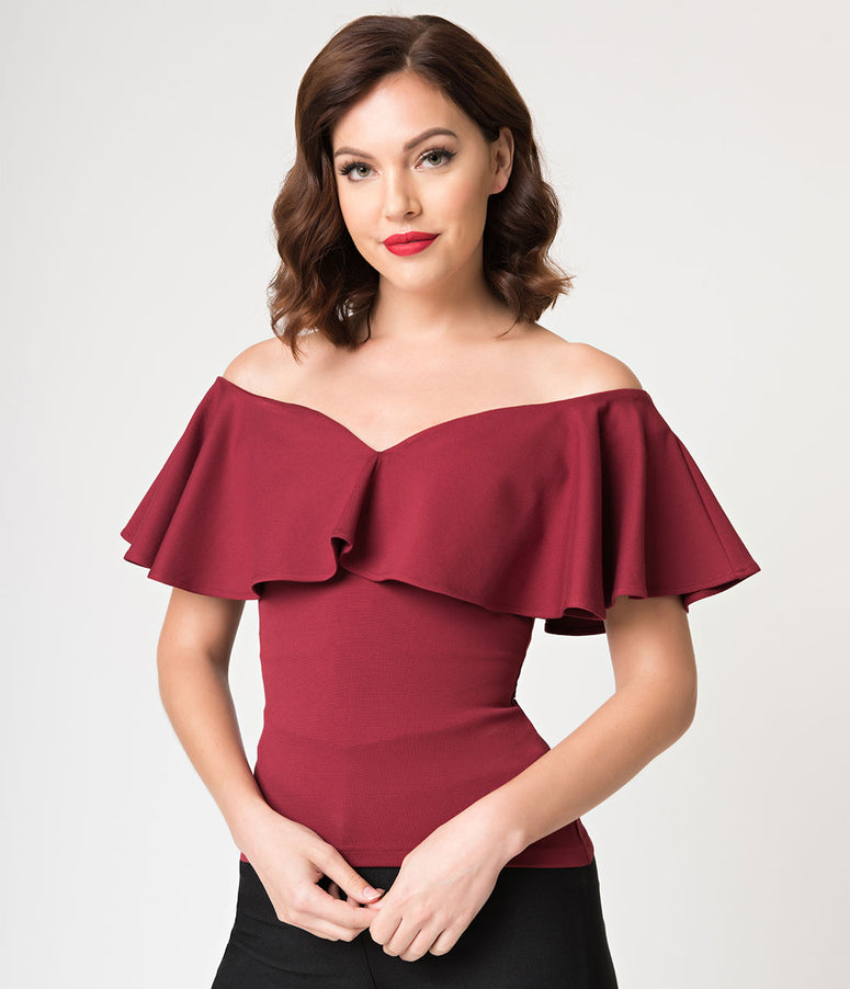 Unique Vintage 1950s Burgundy Red Off Shoulder Ruffle Frenchie Knit Top 14c9b9ccd