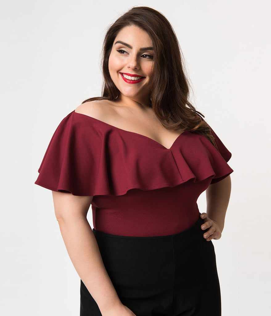 Unique Vintage Plus Size 1950s Burgundy Red Off Shoulder Ruffle Frenchie Knit Top