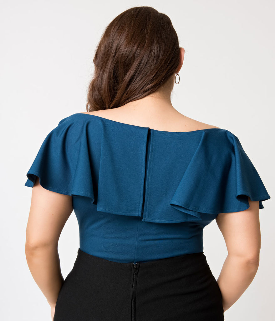 Unique Vintage Plus Size 1950s Teal Off Shoulder Ruffle Frenchie Knit Top