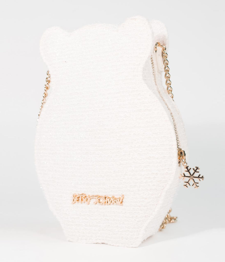 Betsey Johnson White Shimmer Snow Bear Crossbody