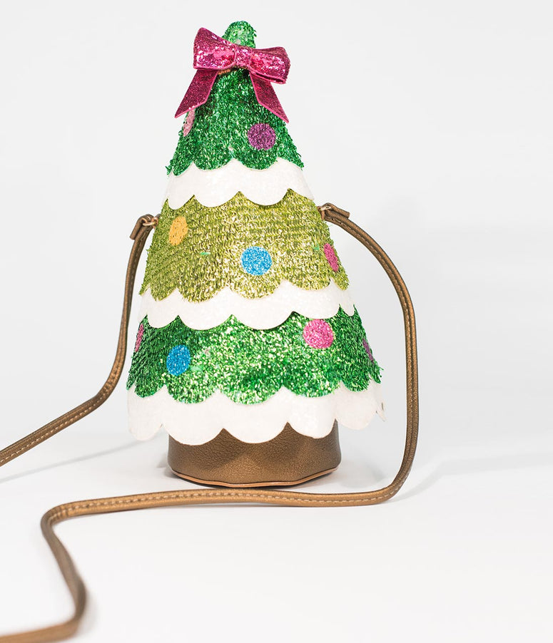 Betsey Johnson Green Sparkle Tree Trimming Party Crossbody