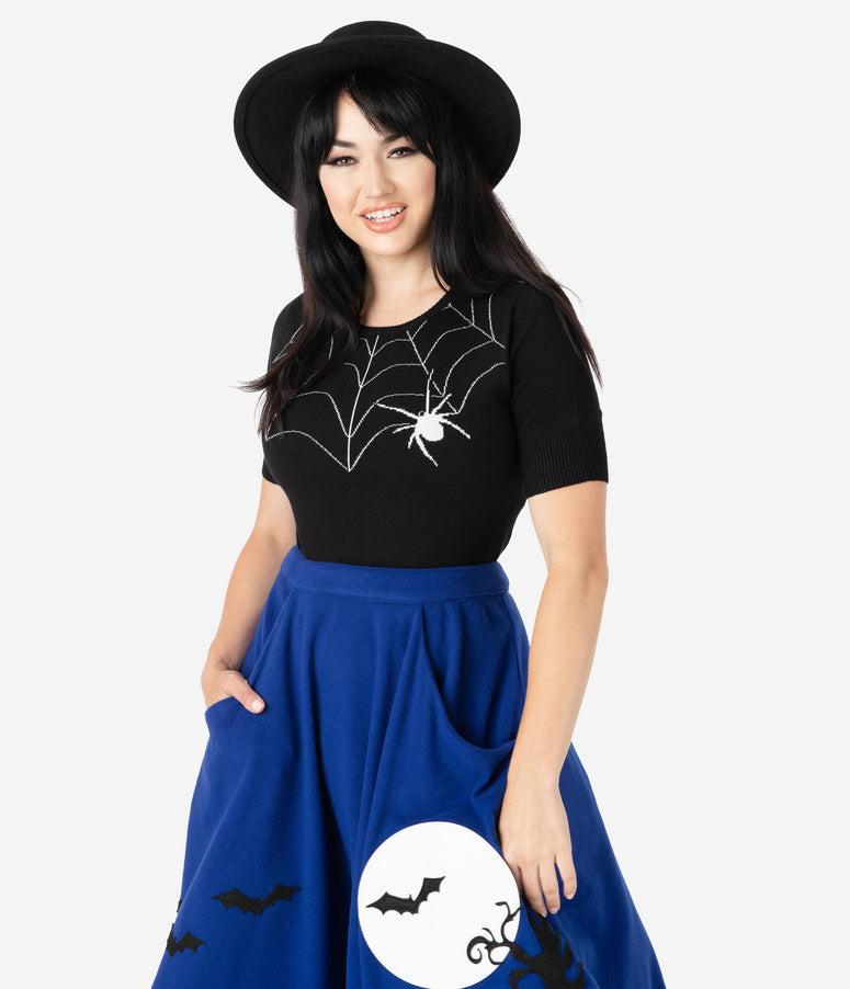 Hell Bunny Black Widow Spider Short Sleeve Sweater