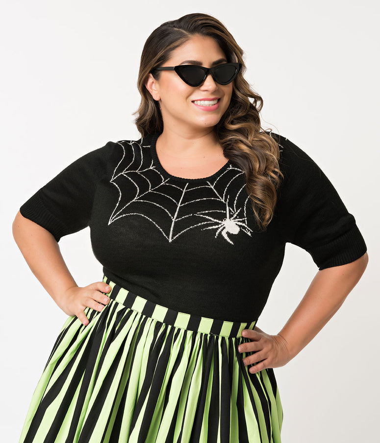 Hell Bunny Plus Size Black Widow Spider Short Sleeve Sweater