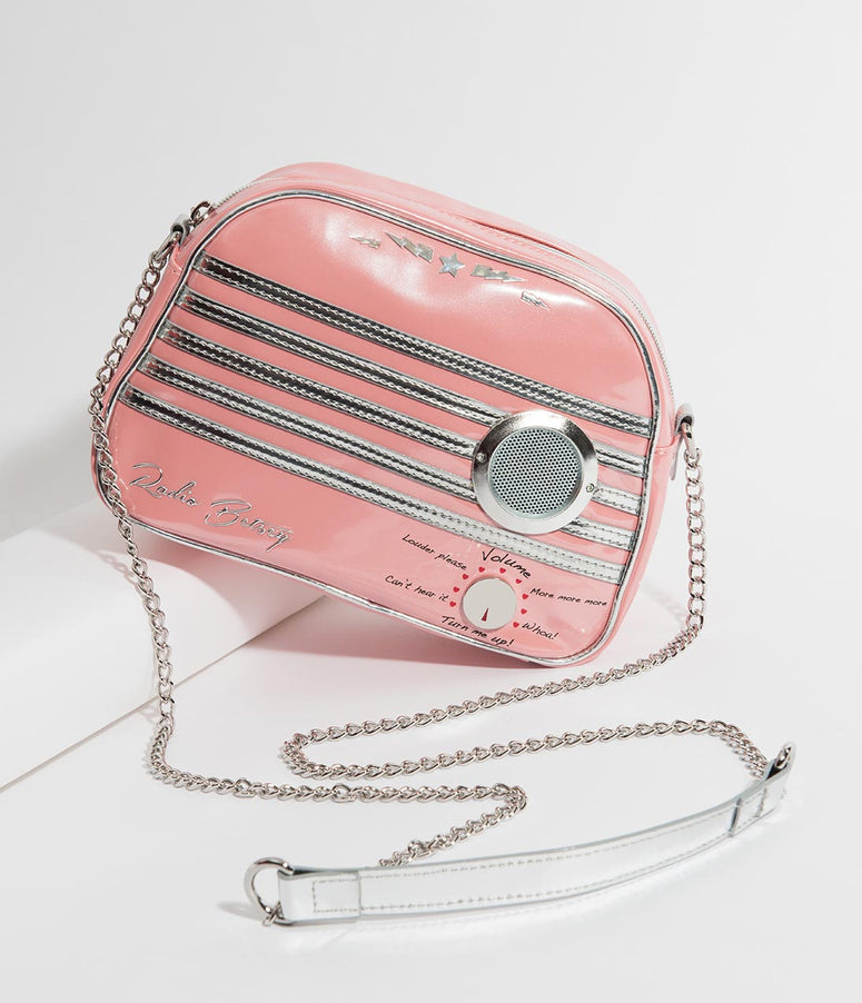 Betsey Johnson Pink Radio Waves Crossbody