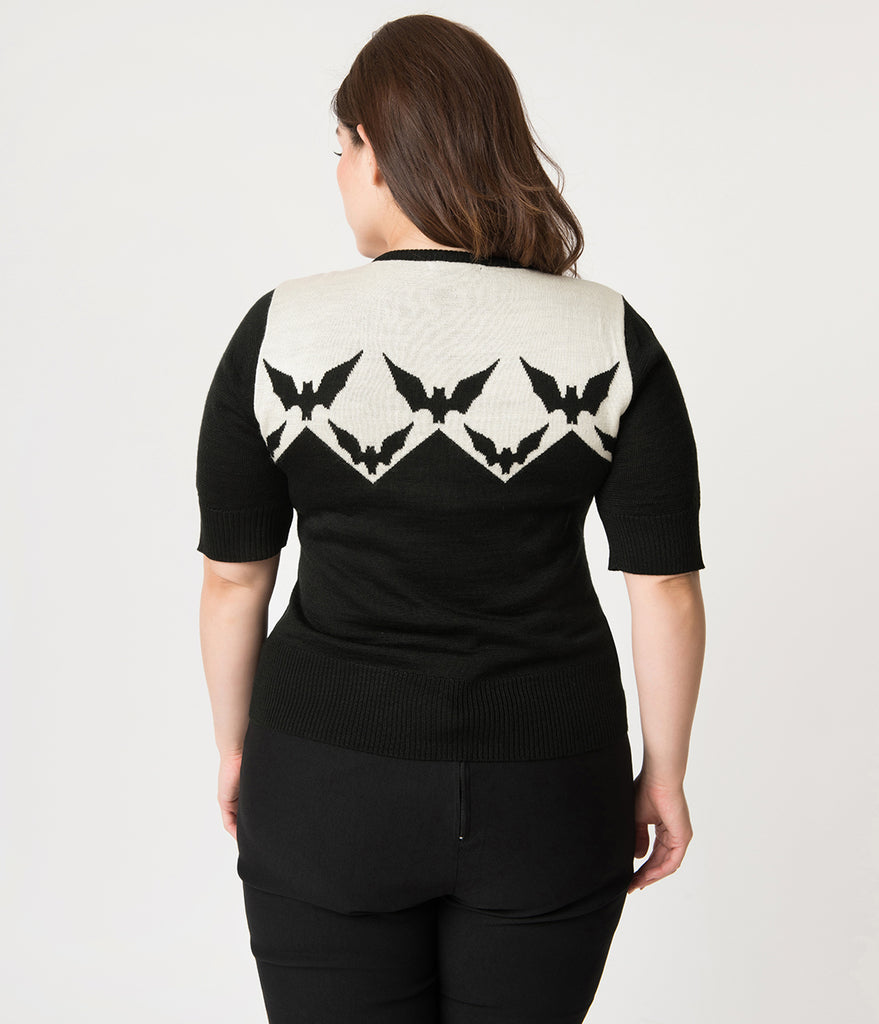 Hell Bunny Plus Size Black & Ivory Vampire Bats Half Sleeve Knit Sweater