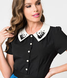 Hell Bunny Black Crepe Button Up Graveyard Blouse