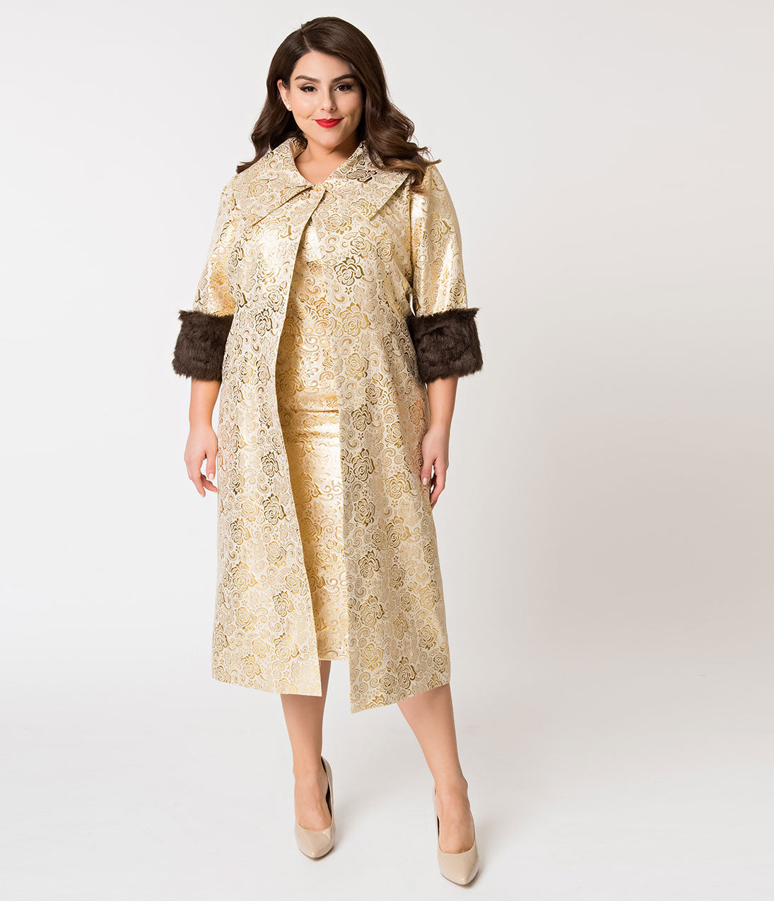 Vintage Coats & Jackets | Retro Coats and Jackets Barbie X Unique Vintage Plus Size Evening Splendour Brocade Coat $148.00 AT vintagedancer.com