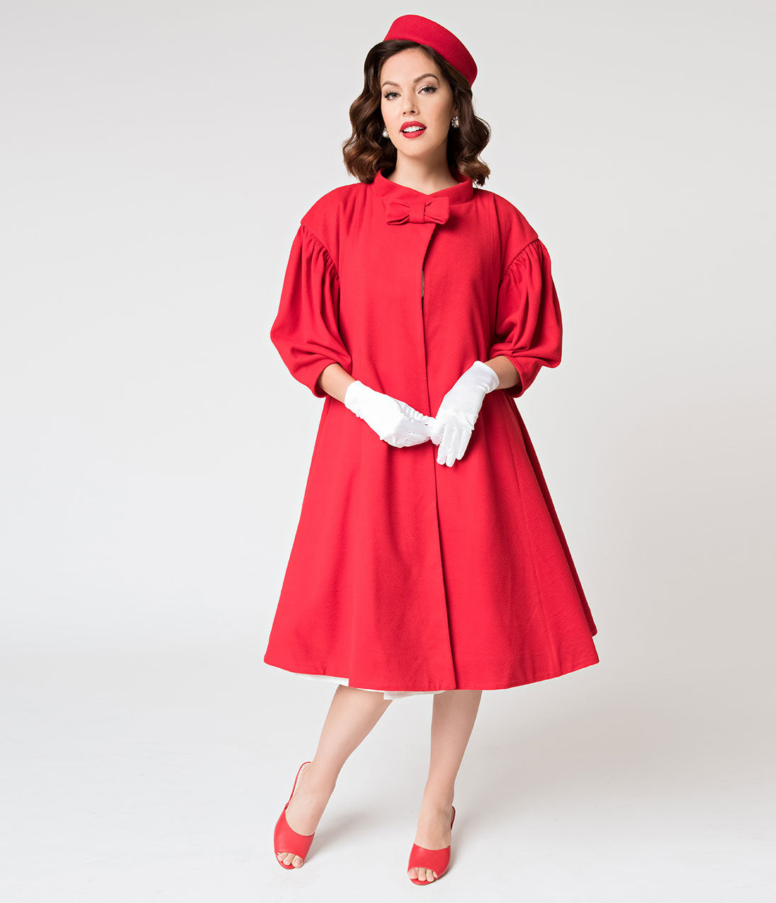 Vintage Coats & Jackets | Retro Coats and Jackets 1960S Style Red Flare Swing Coat $158.00 AT vintagedancer.com