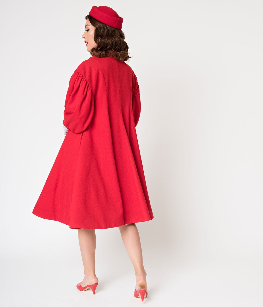 7bce398adc0 Barbie x Unique Vintage 1960s Style Red Flare Swing Coat