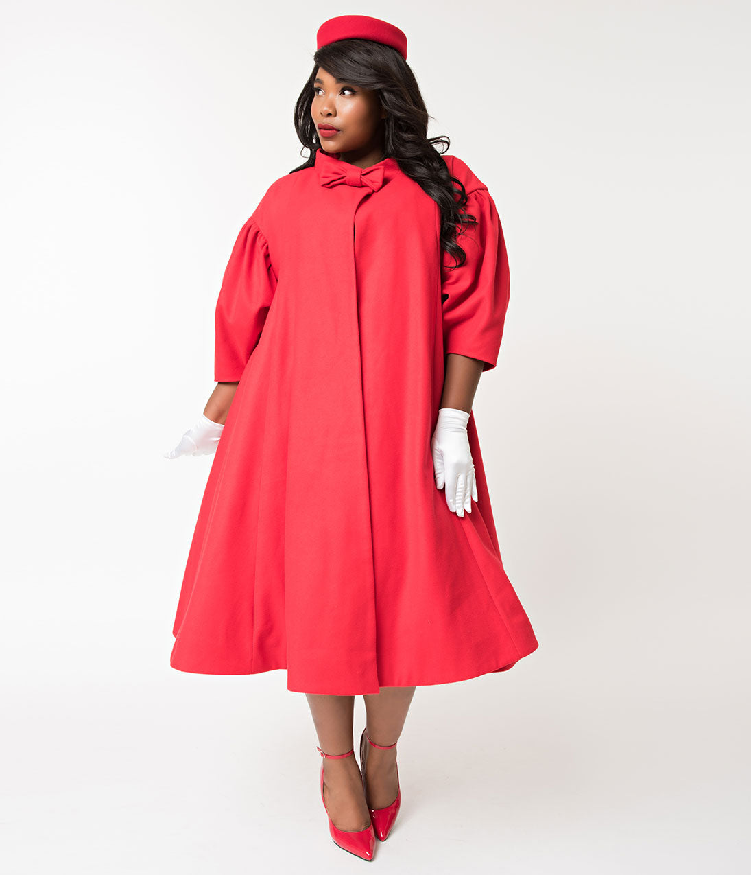 Vintage Coats & Jackets | Retro Coats and Jackets Barbie X Unique Vintage Plus Size 1960S Style Red Flare Swing Coat $158.00 AT vintagedancer.com