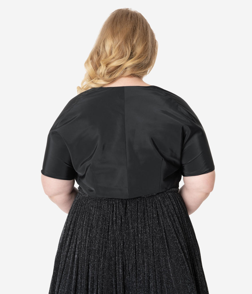 Unique Vintage Plus Size 1940s Style Black Short Sleeve Gertie Bolero