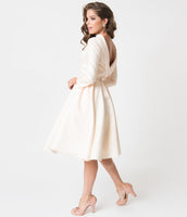 3/4 Sleeves Swing-Skirt Bateau Neck Cowl Neck Short Satin Fitted Pocketed Pleated Hidden Back Zipper Piping Vintage Wedding Dress With a Bow(s)