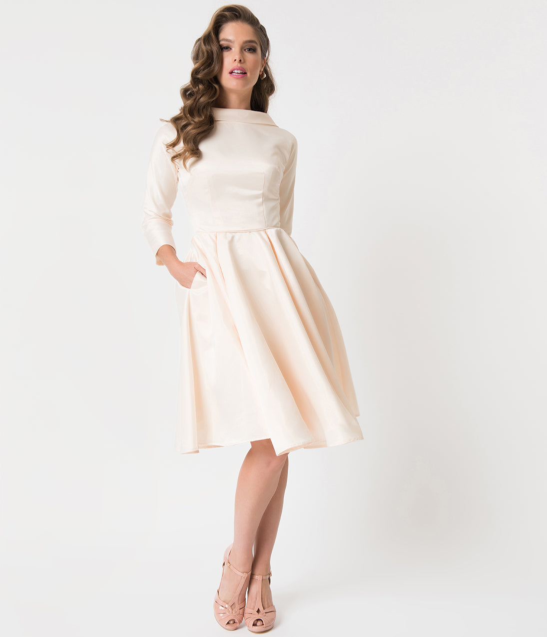 Unique Vintage 1950s Style Cream Satin Sleeved Lana Bridal Dress: Simple Fall Themed Wedding Dresses At Websimilar.org