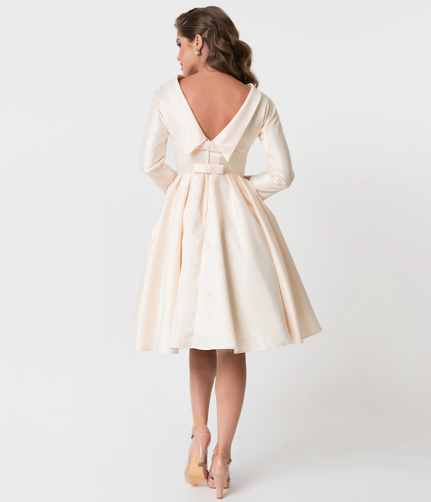 Unique Vintage 1950s Style Cream Satin Sleeved Lana Bridal Dress