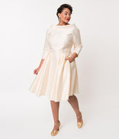 Plus Size Bateau Neck Cowl Neck Short Vintage Hidden Back Zipper Fitted Pleated Pocketed Piping 3/4 Sleeves Swing-Skirt Satin Wedding Dress With a Bow(s)