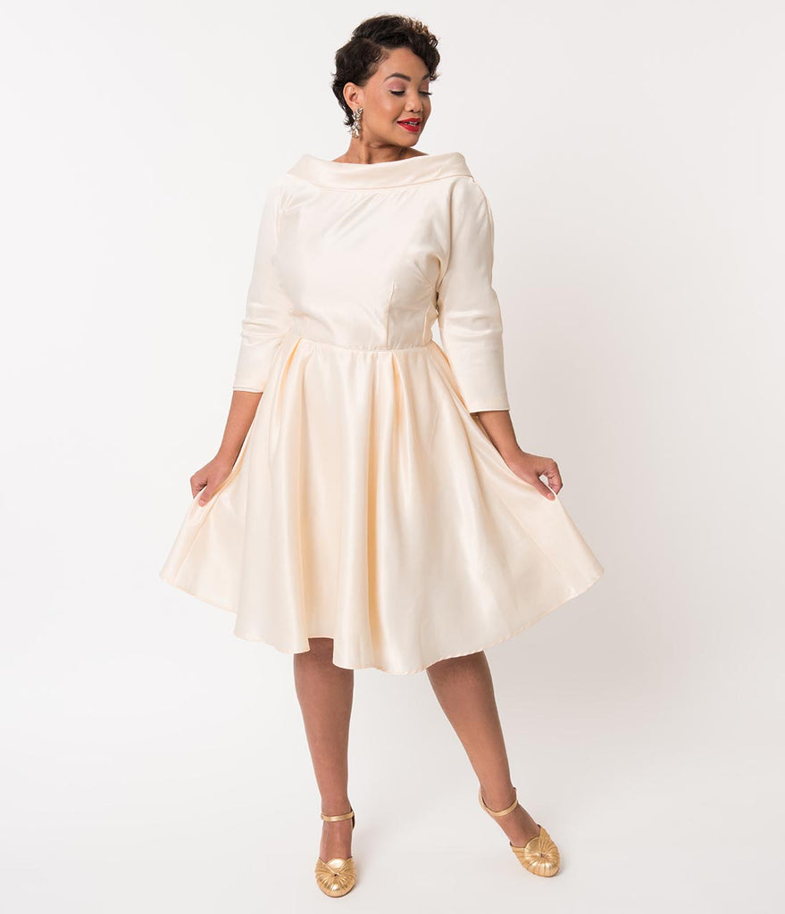 Unique Vintage Plus Size 1950s Style Cream Satin Sleeved Lana Bridal Dress