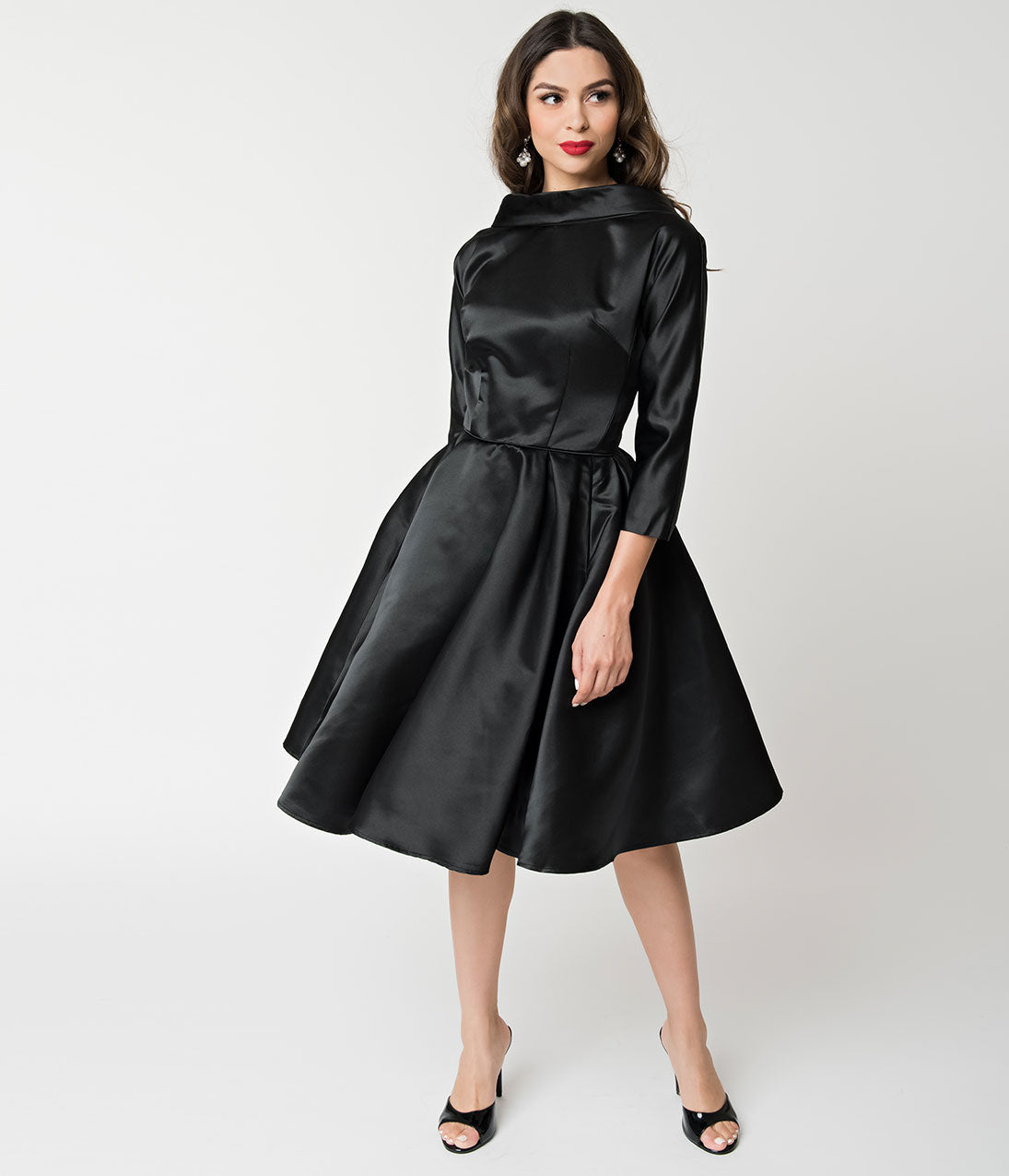 1950s Dresses, 50s Dresses | 1950s Style Dresses Unique Vintage 1950S Style Black Satin Sleeved Lana Holiday Dress $128.00 AT vintagedancer.com