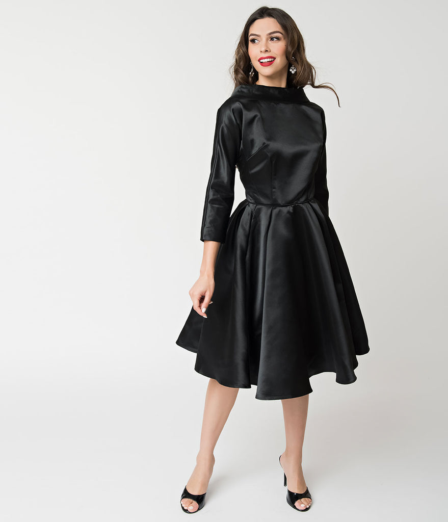 Unique Vintage 1950s Style Black Satin Sleeved Lana Holiday Dress