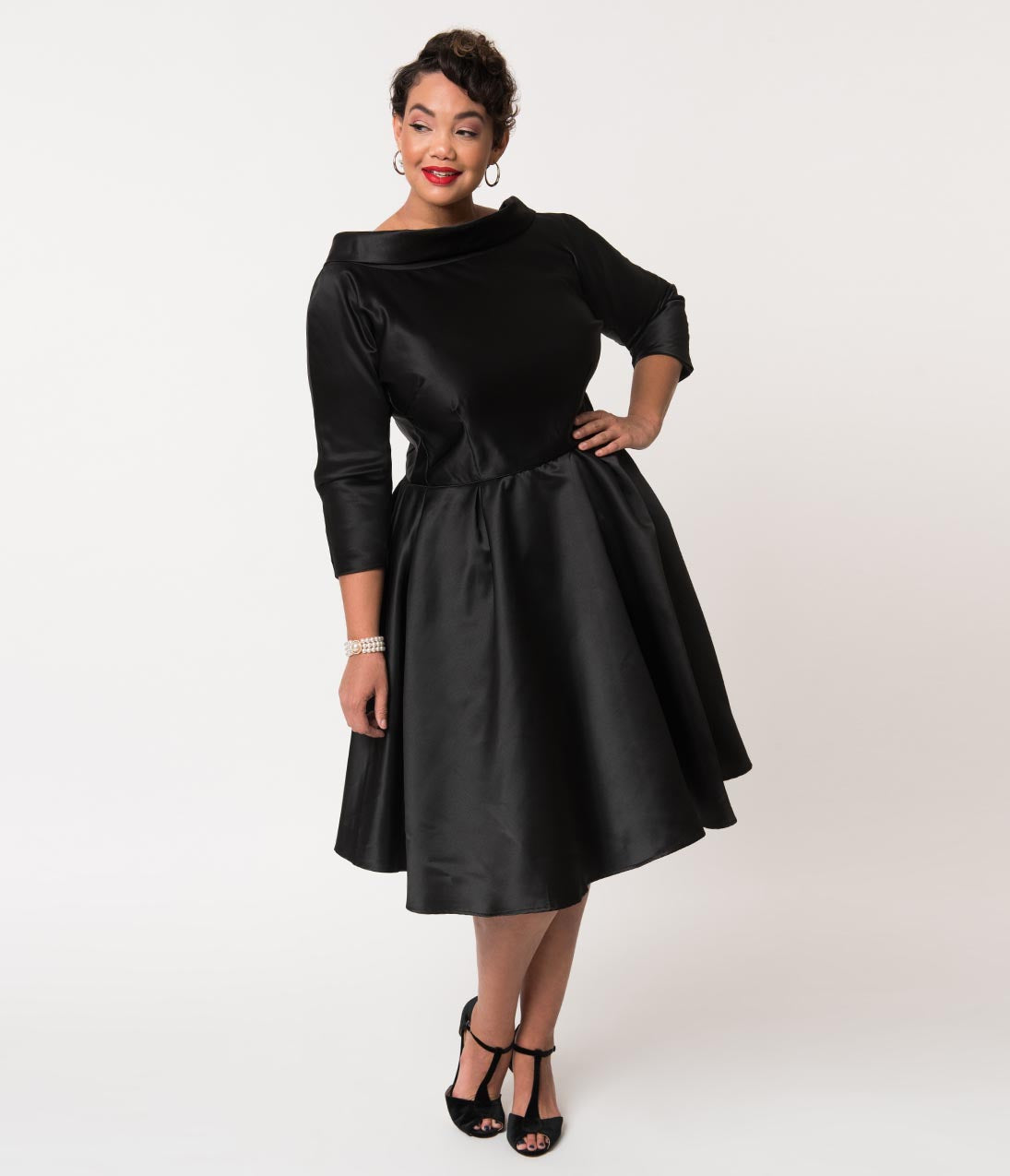 Vintage Evening Dresses and Formal Evening Gowns Unique Vintage Plus Size 1950S Style Black Satin Sleeved Lana Holiday Dress $128.00 AT vintagedancer.com