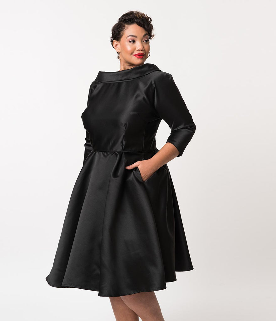 Unique Vintage Plus Size 1950s Style Black Satin Sleeved Lana Holiday
