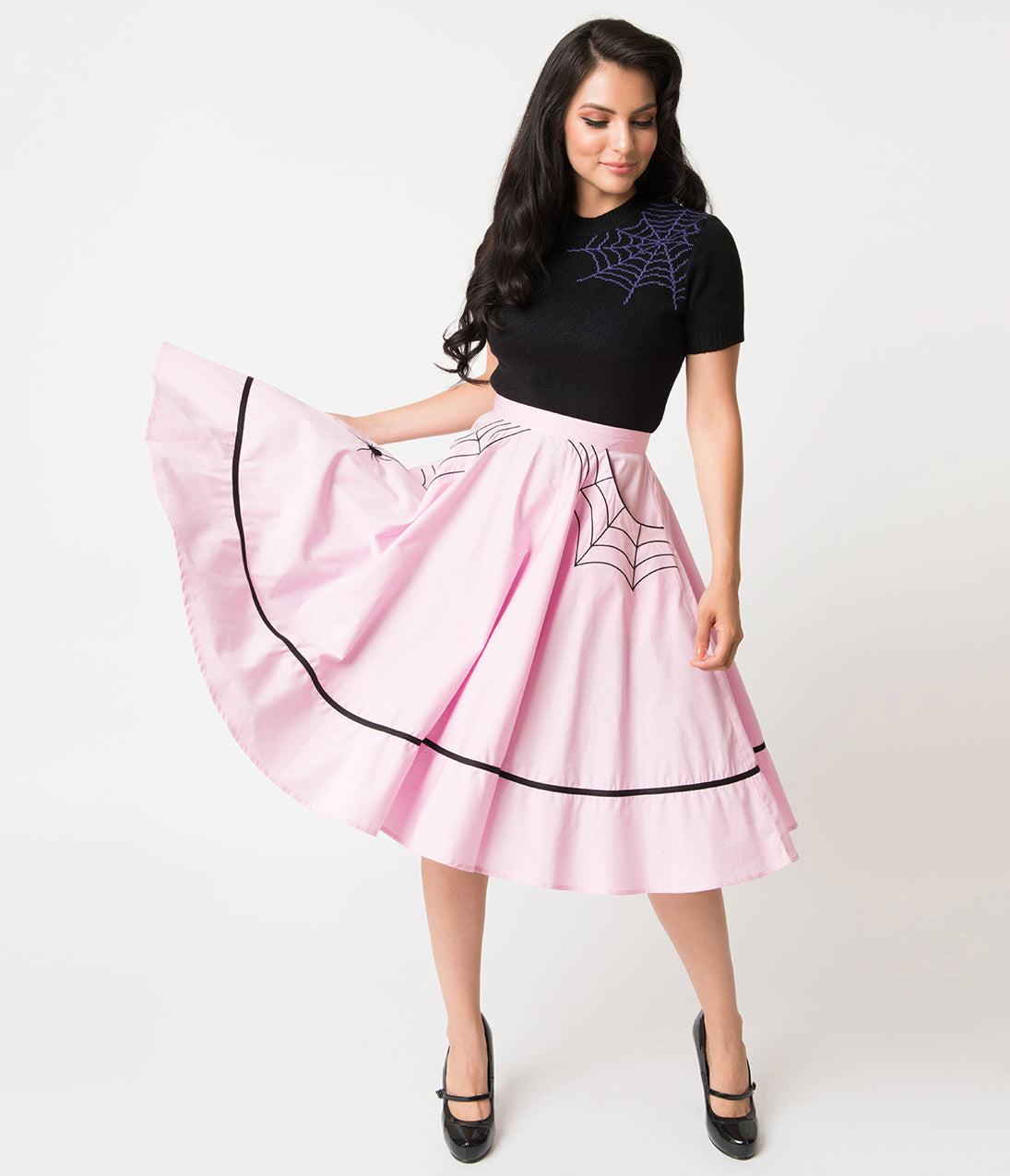 Vintage Retro Halloween Themed Clothing Hell Bunny 1950S Style Pink Miss Muffet Embroidered Swing Skirt $62.00 AT vintagedancer.com