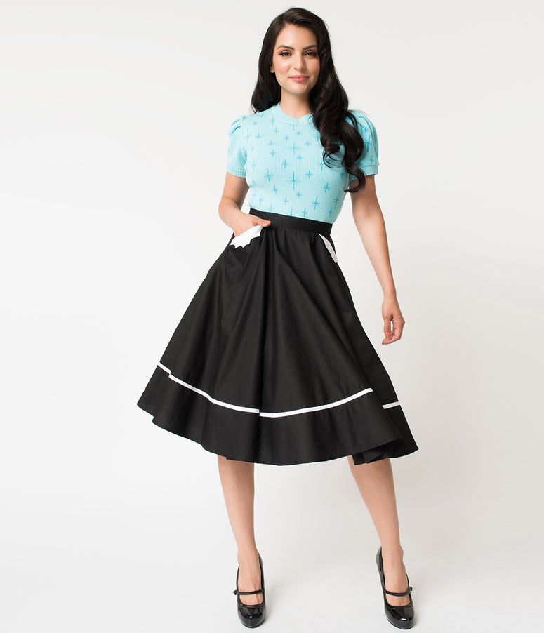 Hell Bunny 1950s Style Black Bats High Waist Swing Skirt