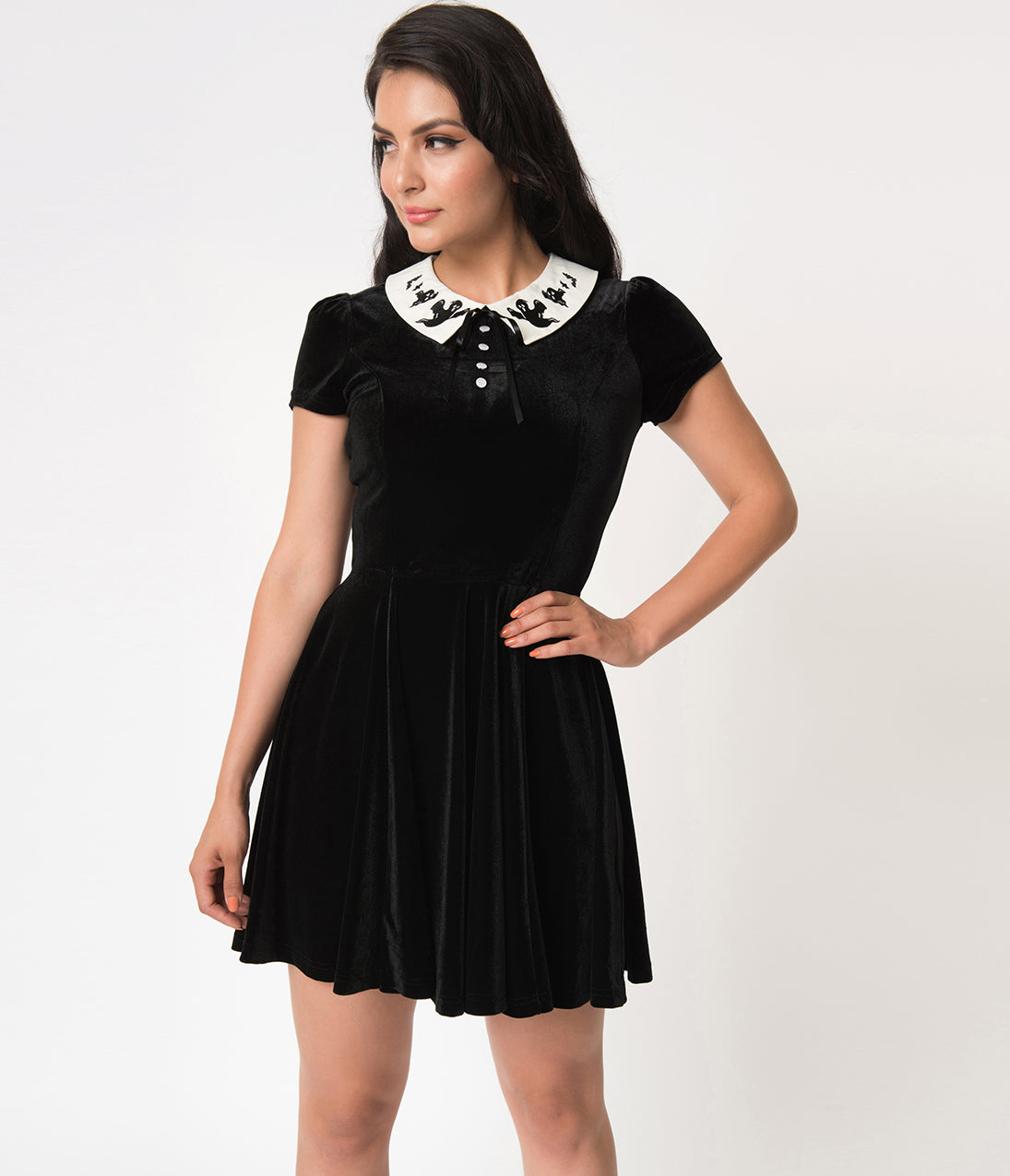 Vintage Retro Halloween Themed Clothing Hell Bunny Black Velvet Casper Short Sleeve Flare Dress $46.00 AT vintagedancer.com