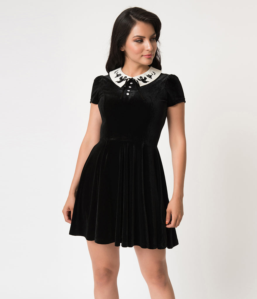 Hell Bunny Black Velvet Casper Short Sleeve Flare Dress