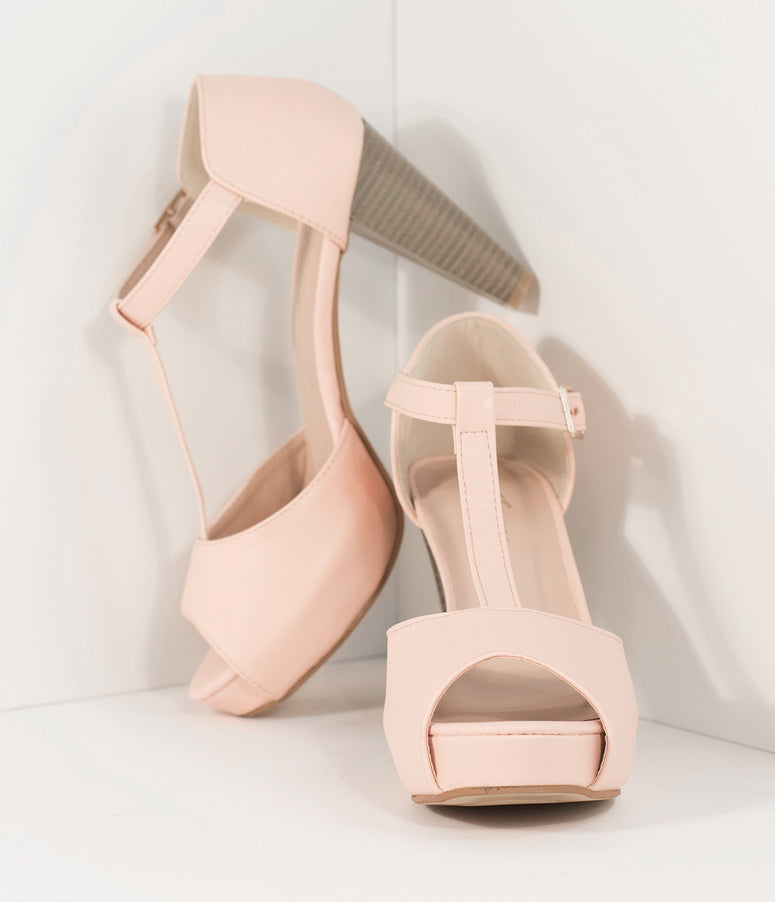 Retro Style Light Pink Leatherette Peep Toe T-Strap Heels