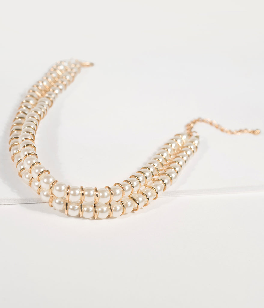 Ivory Pearl & Gold Two Row Choker