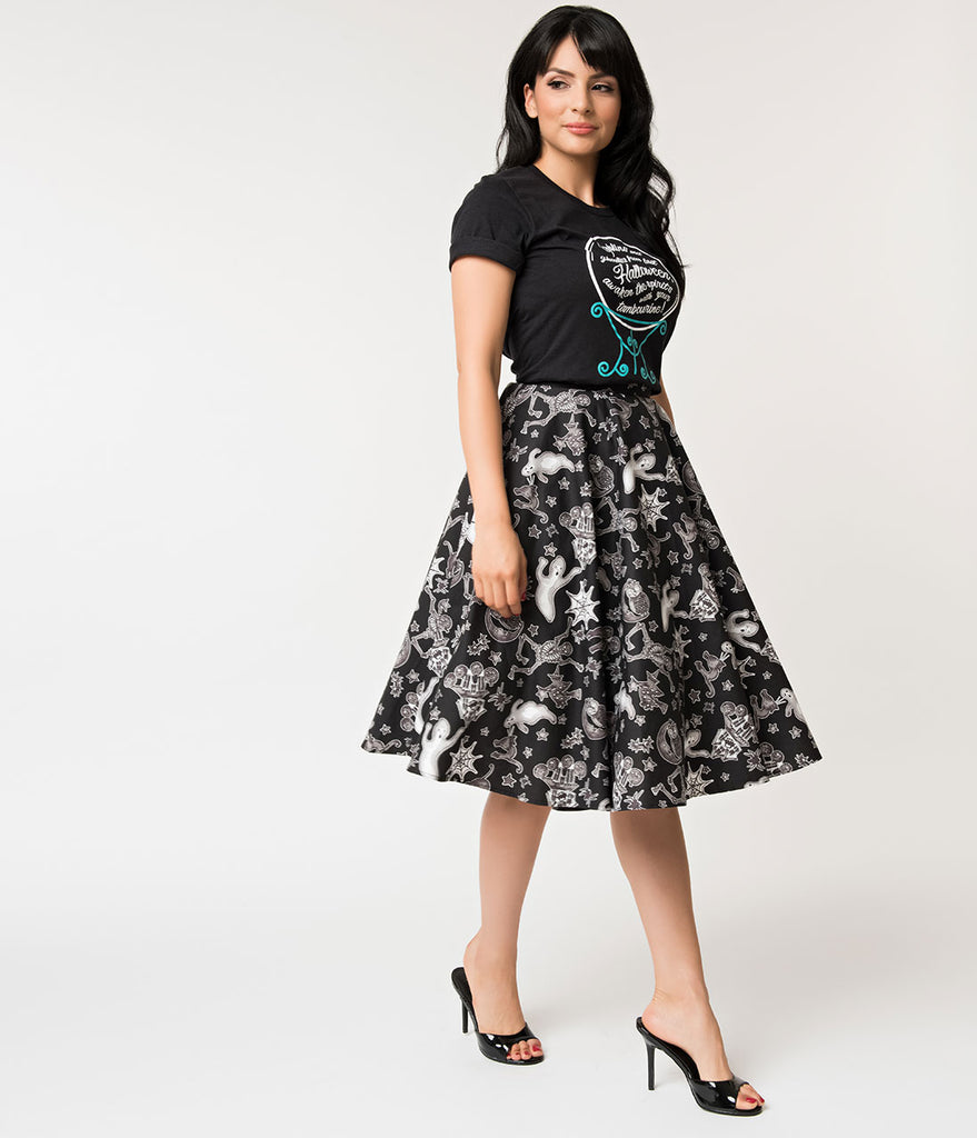 Hell Bunny 1950s Style Black & White Spooky Print Swing Skirt