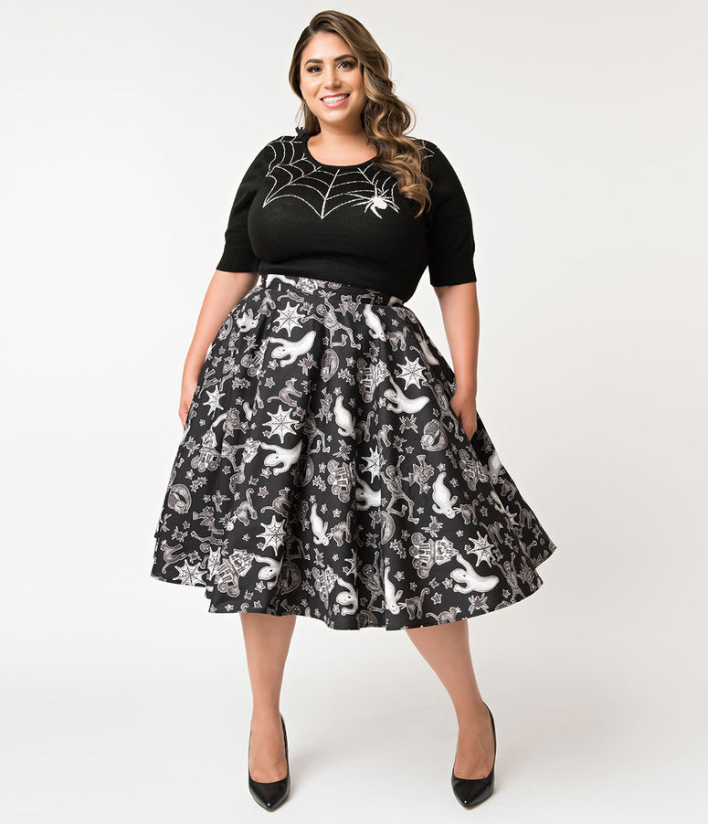 Hell Bunny Plus Size 1950s Style Black & White Spooky Print Swing Skirt