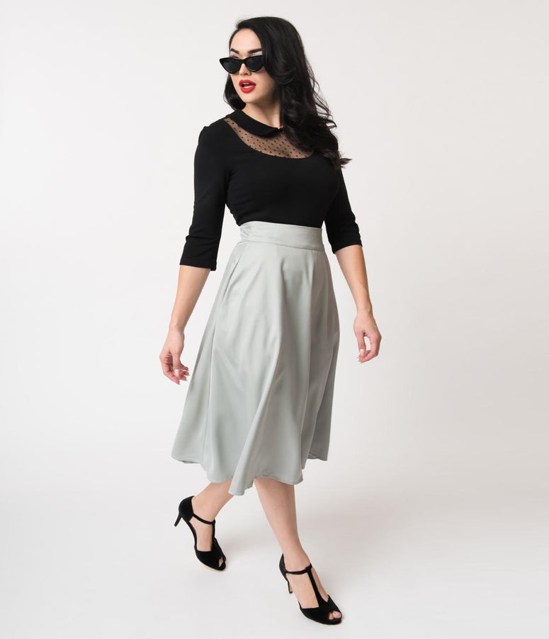 Unique Vintage Retro Style Light Grey High Waist Vivien Swing Skirt