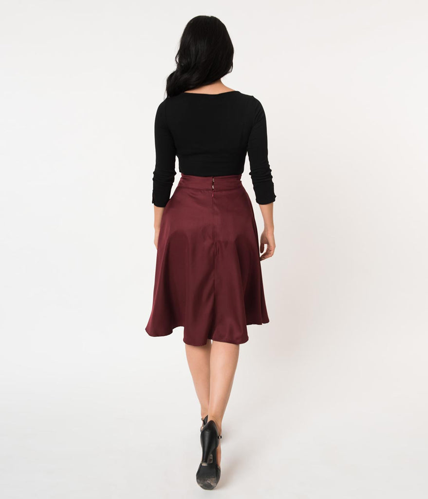 Unique Vintage Retro Style Burgundy High Waist Vivien Swing Skirt
