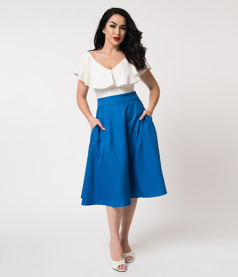 Unique Vintage Retro Style Royal Blue High Waist Vivien Swing Skirt