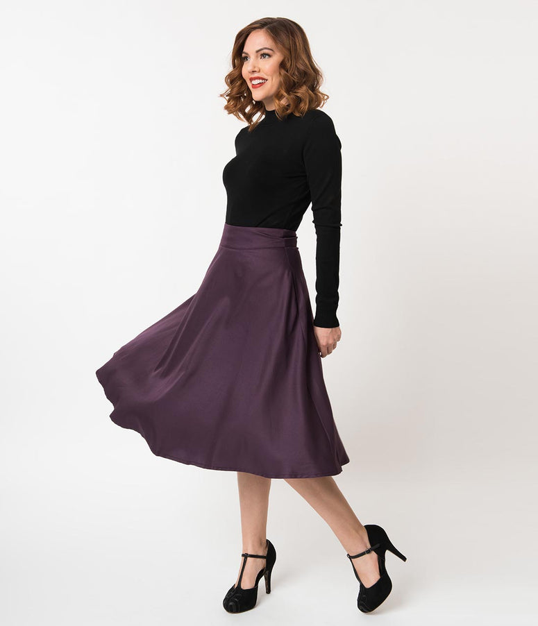 Unique Vintage Retro Style Eggplant Purple High Waist Vivien Swing Skirt