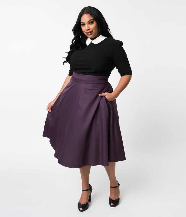 Unique Vintage Plus Size Retro Style Eggplant Purple High Waist Vivien Swing Skirt