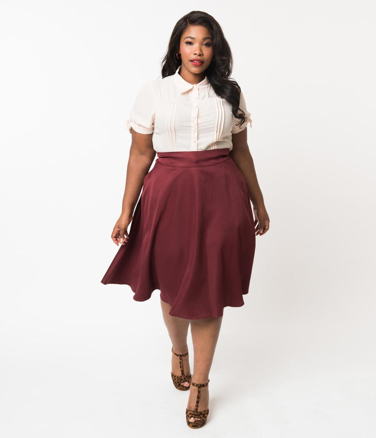 Unique Vintage Plus Size Retro Style Burgundy High Waist Vivien Swing Skirt