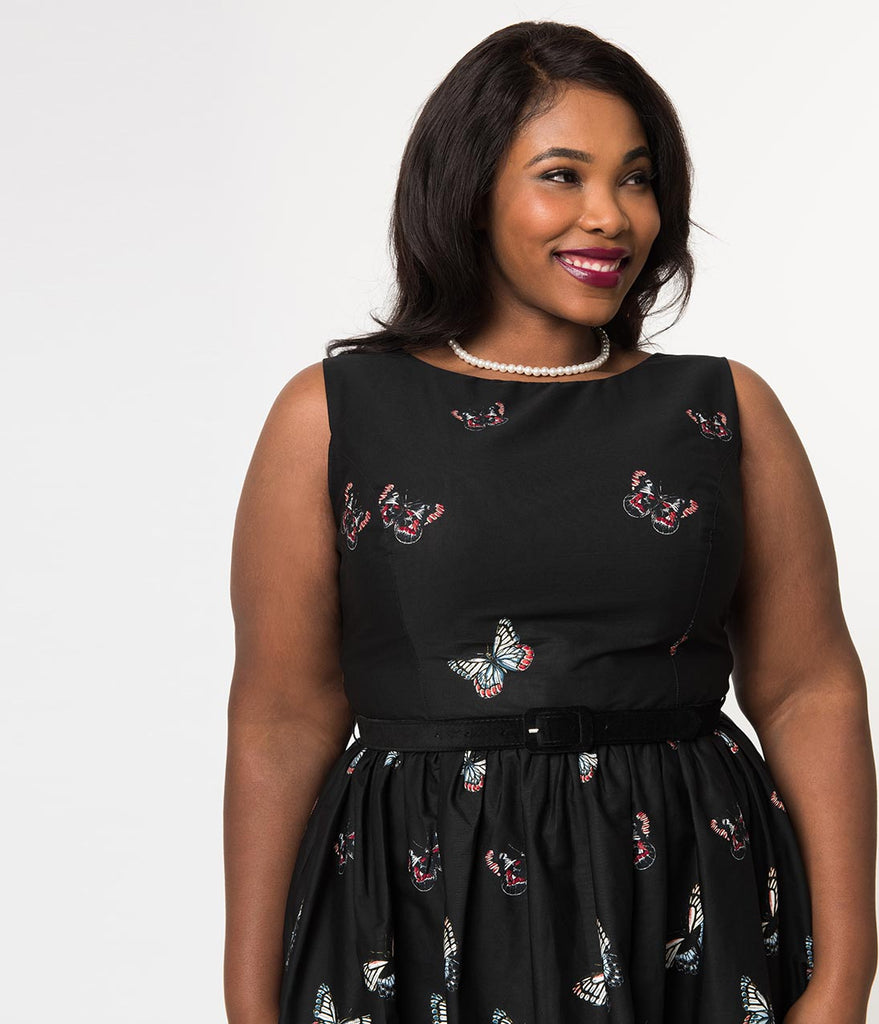 Hell Bunny Plus Size Black & Butterfly Print Cotton Laeticia Flare Dress