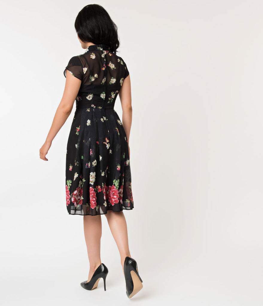 Hell Bunny Black Floral Jolie Papillon Chiffon Swing Dress
