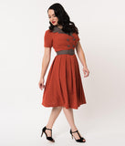 Retro Style Rust Orange Short Sleeve Michelle Swing Dress