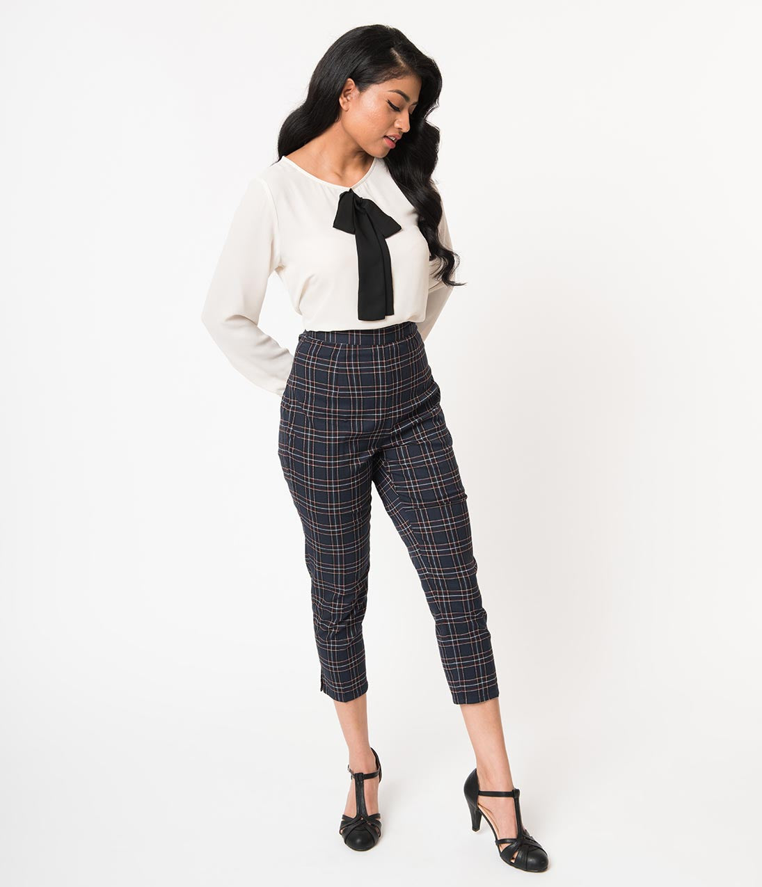 What Did Women Wear in the 1950s? 1950s Fashion Guide Hell Bunny 1950S Style Navy Blue Plaid Peebles Cigarette Trousers $42.00 AT vintagedancer.com