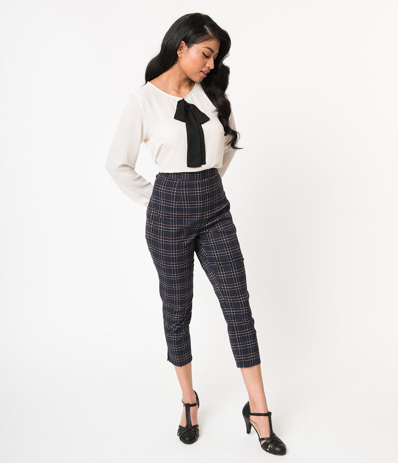 Hell Bunny 1950s Style Navy Blue Plaid Peebles Cigarette Trousers